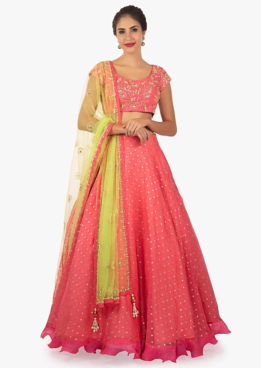 9ad56ae04c81f Chanderi silk pink lehenga and blouse matched with green net dupatta only  on kalkiMore Detail