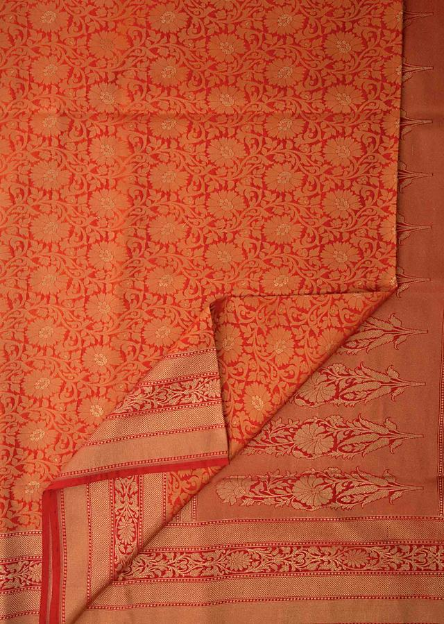 Red And Orange Saree In Chanderi Silk With Weaved Jaal Work All Over Online - Kalki Fashion