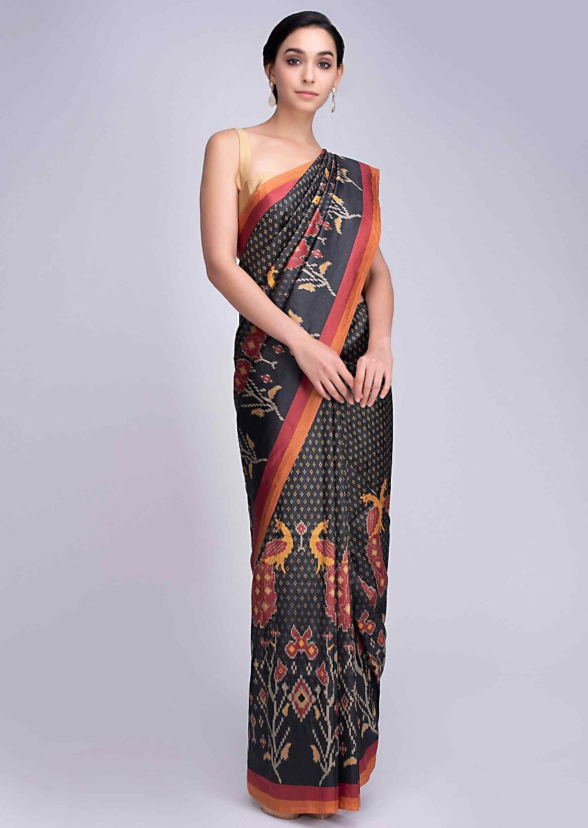 29ad900914 Charcoal black silk saree with peacock and floral printed motif only on  Kalki