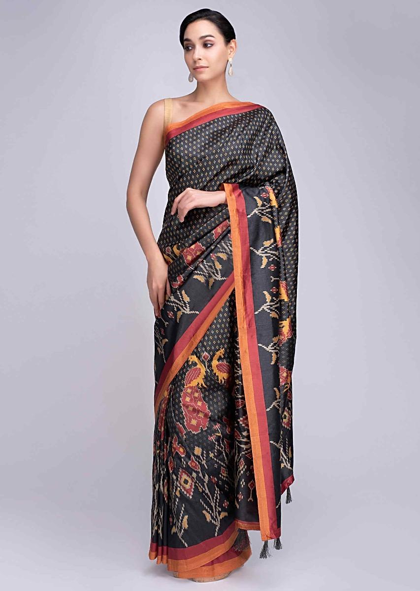 27f3d3395b Charcoal black silk saree with peacock and floral printed motif only on  KalkiMore Detail