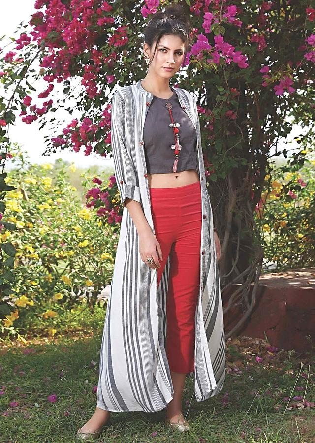 Charcoal Grey Crop Top And Red Cropped Pants With White Long Jacket With Stripes