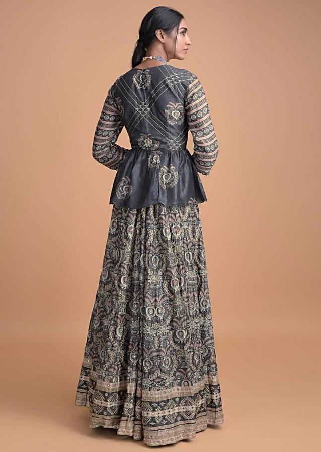 Charcoal Grey Lehenga And Peplum Top With Gotta Patch Embroidery Online - Kalki Fashion