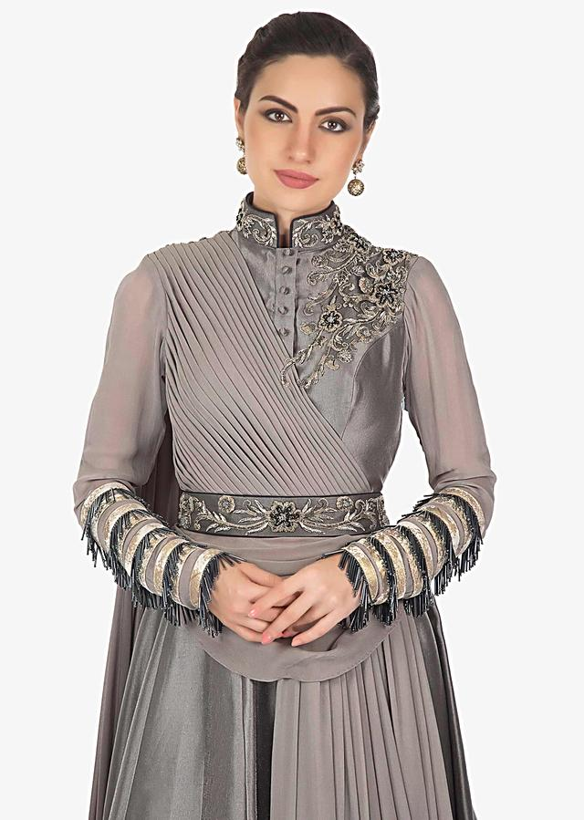 Charcoal Grey Gown In Satin Georgette With Cut Work, Zari And Pleats Online - Kalki Fashion