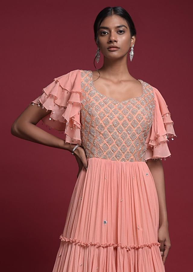 Charisma Peach Indowestern Gown In Crepe With Tiered Pattern And Ruffle Sleeves Online - Kalki Fashion
