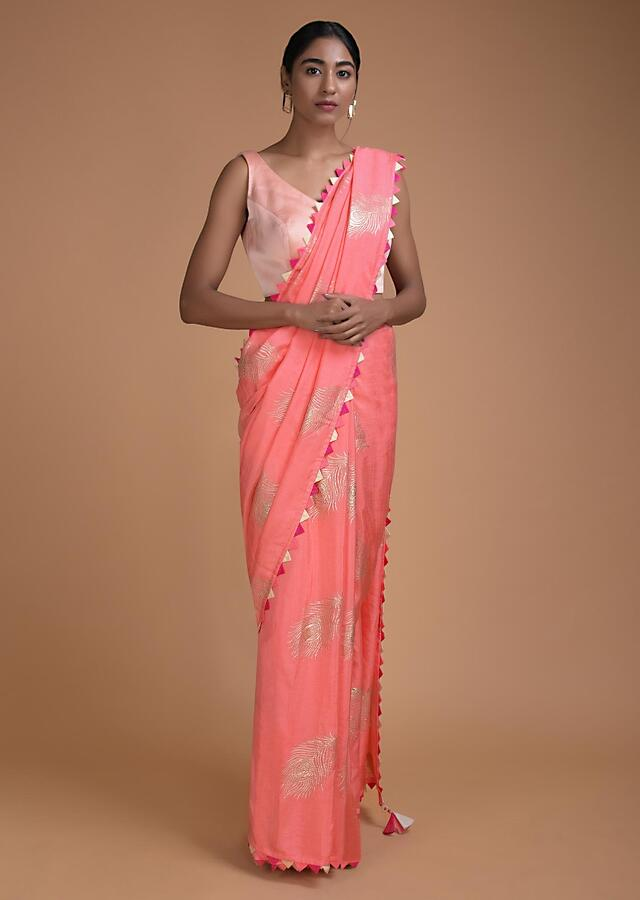 Charisma Peach Saree In Cotton Silk With Weaved Peacock Feather Motifs Online - Kalki Fashion
