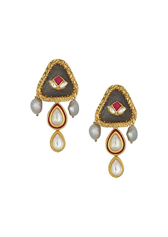 Charming Kundan Polki Earrings With Gold Enamel Work And Carved Onyx Online - Joules By Radhika