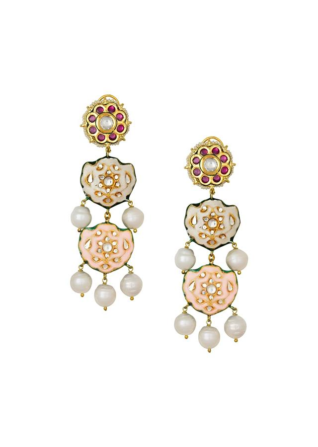 Charming Peach Enamelled Earrings With Kundan Polki And Baroque Pearls Online - Joules By Radhika