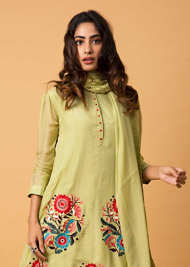 Chartreuse Green A Line Suit With Colorful Aari Thread Embroidered Floral Motifs Online - Kalki Fashion