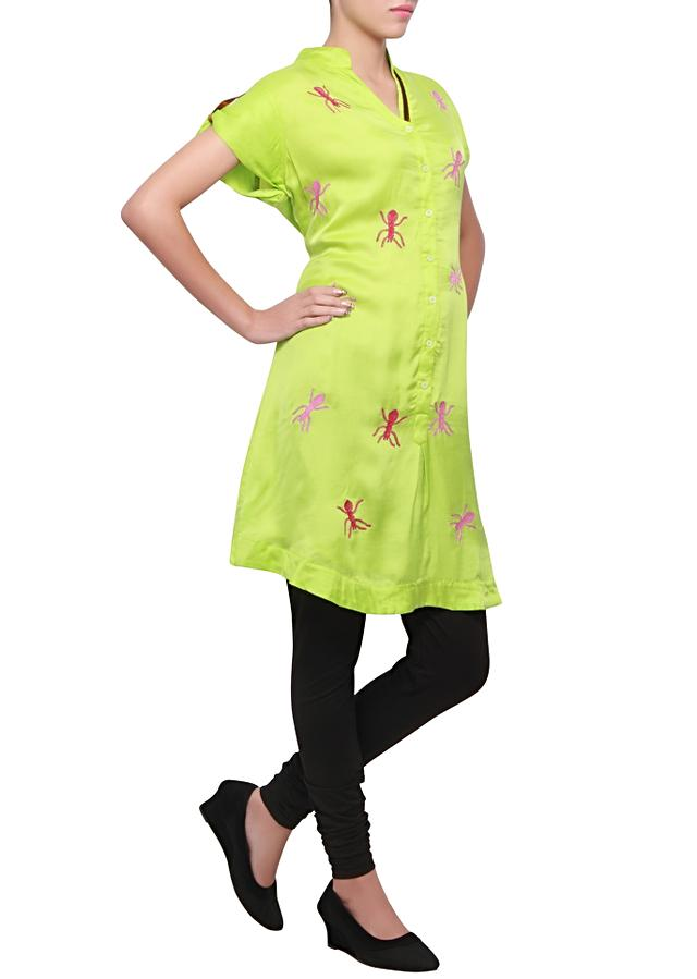 Chartreuse green kurti featuring in satin with bug motif embroidered in resham only on kalki