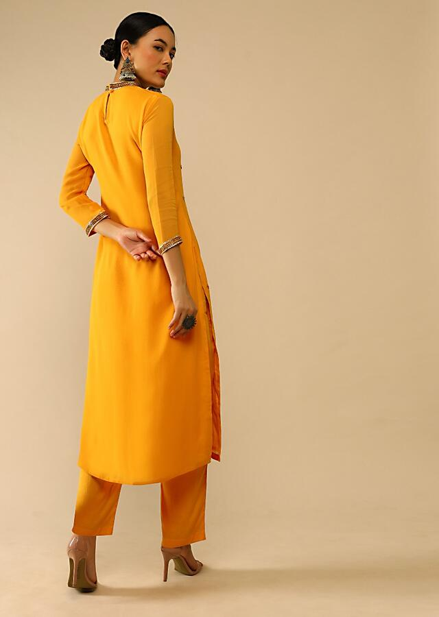 Cheddar Yellow Straight Cut Suit In Georgette With Sequin Embellished Buttis Online - Kalki Fashion