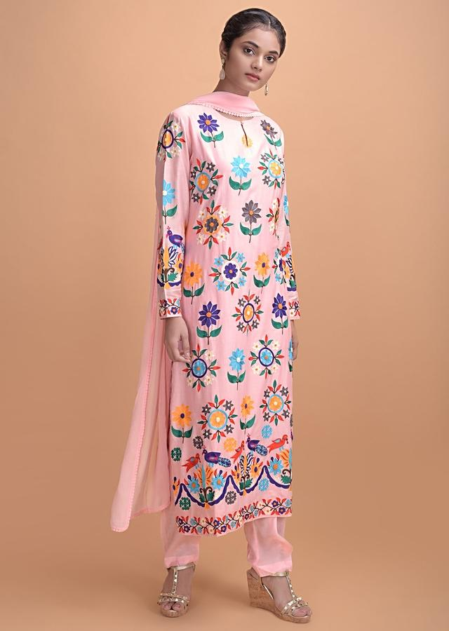Cherry Blossom Pink Straight Cut Suit With Multi Colored Thread Embroidery On Floral Motifs Online - Kalki Fashion