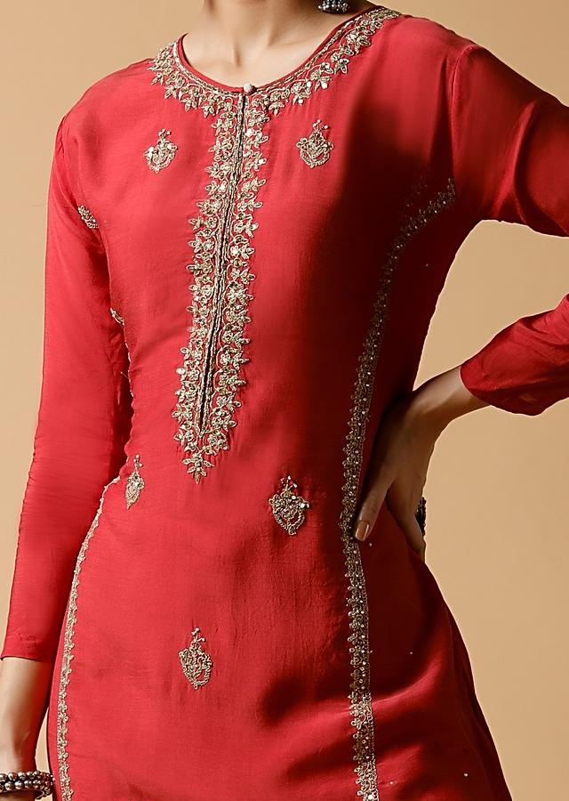 Cherry Pink Straight Cut Kurti In Cotton With Zari And Sequins Embroidered Detailing And Butti Work Online - Kalki Fashion