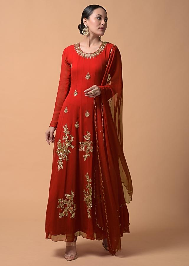 Cherry Red Anarkali Suit In Georgette With Zari And Sequins Embroidered Floral Motifs Online - Kalki Fashion