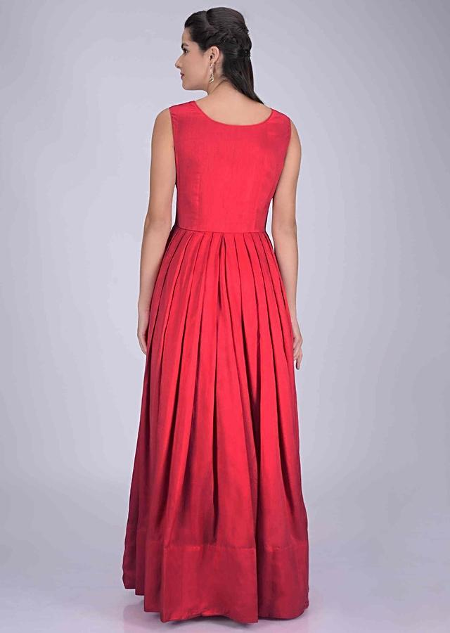 Cherry Red Gown In Cotton Silk With Mustard Yellow Embellished Jacket Online - Kalki Fashion
