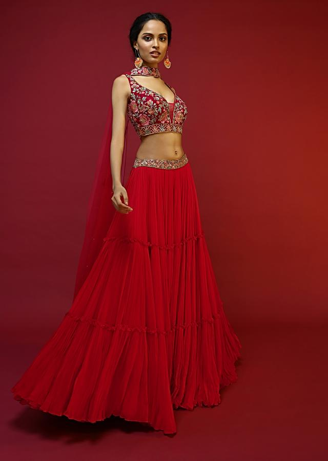 Cherry Red Gathered Lehenga Choli With Hand Embroidered Multi Colored Resham And Sequins Work In Floral Jaal Design Online - Kalki Fashion