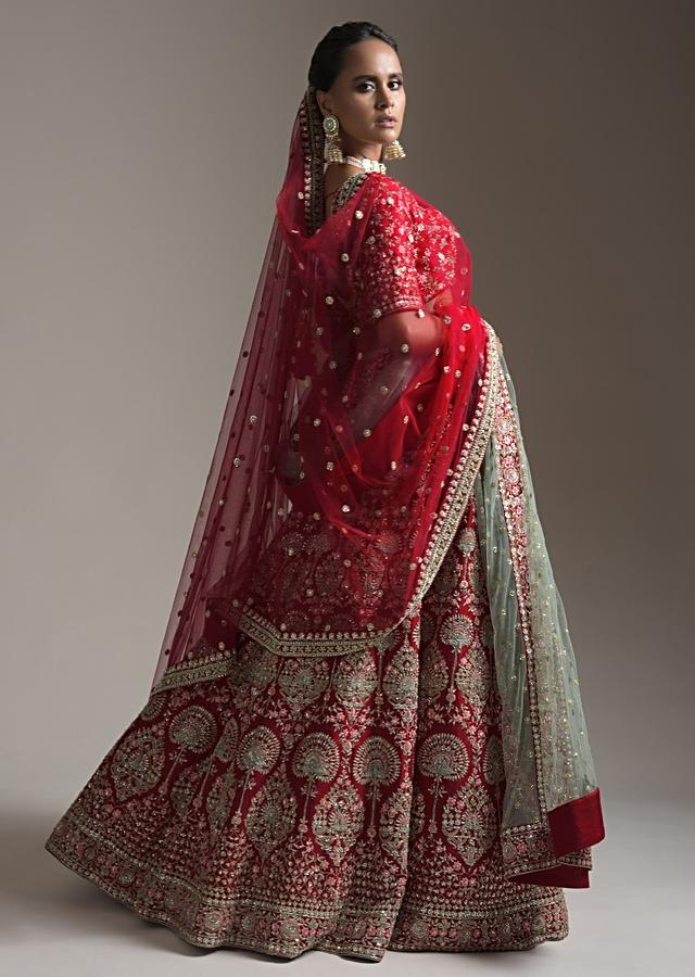Cherry Red Heavy Bridal Lehenga Choli In Raw Silk With Patchwork And Zari Embroidered Heritage Floral Design Online - Kalki Fashion