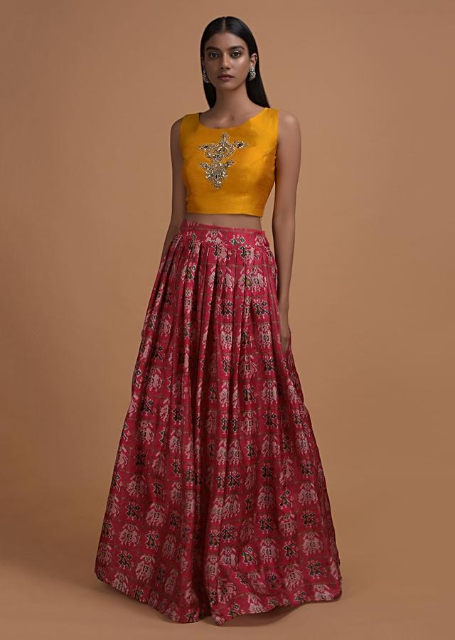 Cherry Red Lehenga In Ikkat Motif Print Matched With Yellow Crop Top Blouse And Rama Green Jacket Online - Kalki Fashion