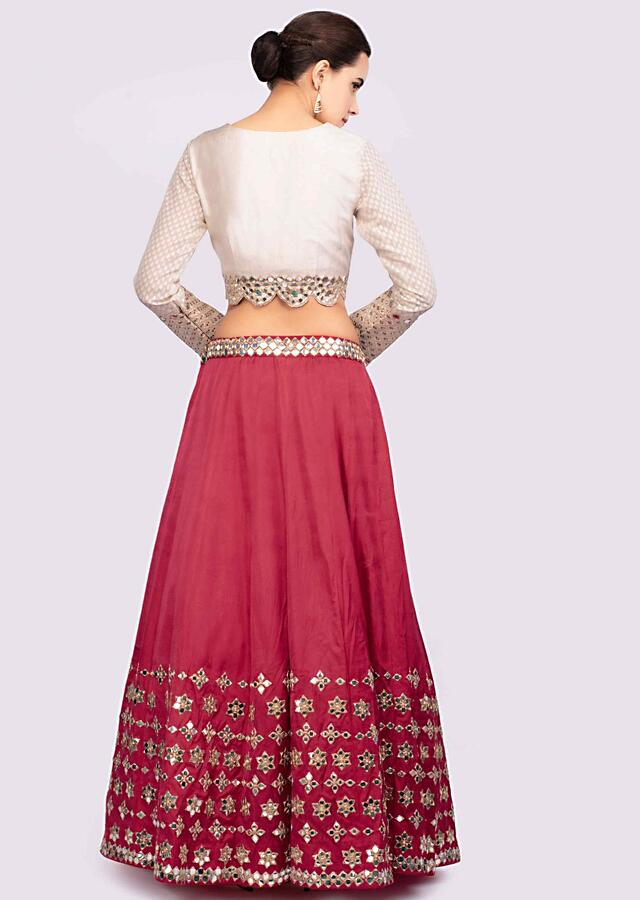Cherry Red Lehenga With Mirror Embroidery And Contrasting Off White Blouse Online - Kalki Fashion