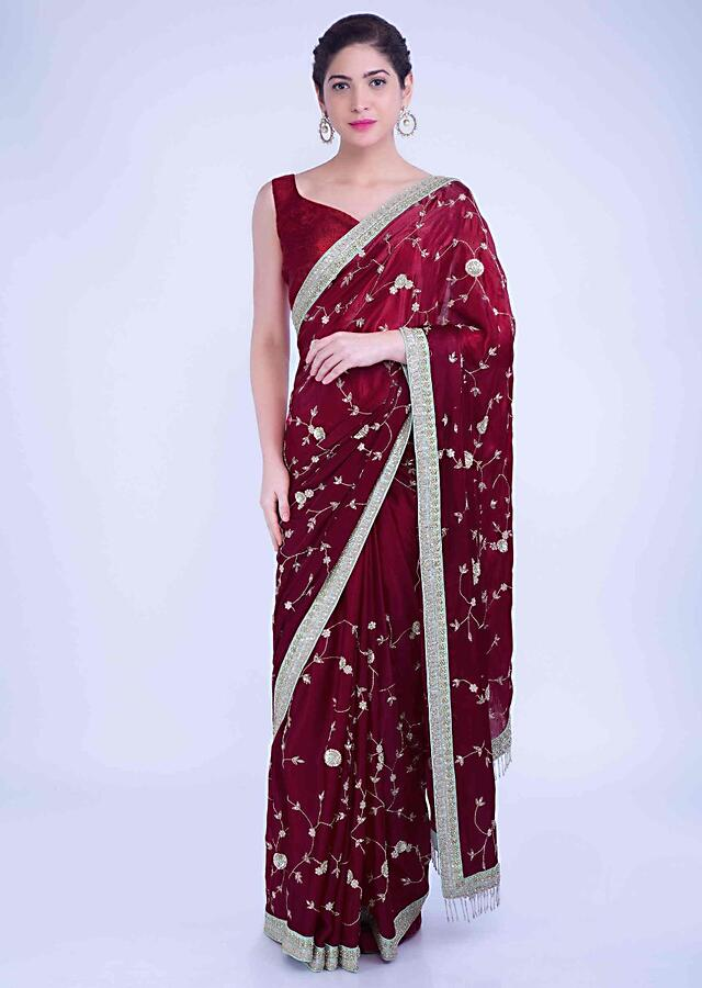 Cherry Red Saree In Ombre Satin Georgette With Mint Green Raw Silk Blouse Piece Online - Kalki Fashion