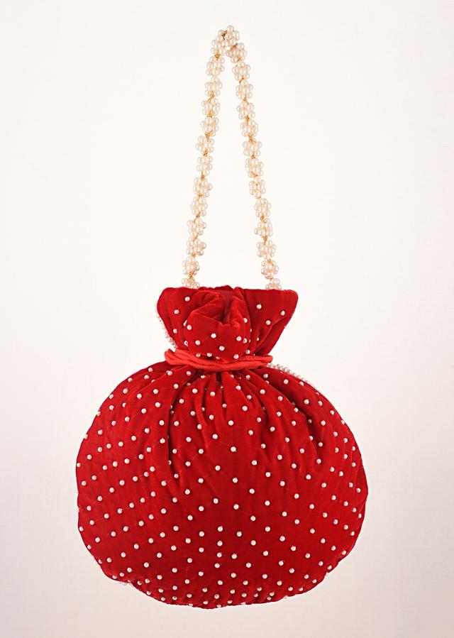 Cherry Red Potli Bag In Velvet With Moti Work In Crescent Design Along The Edge And Scattered In The Centre By Shubham