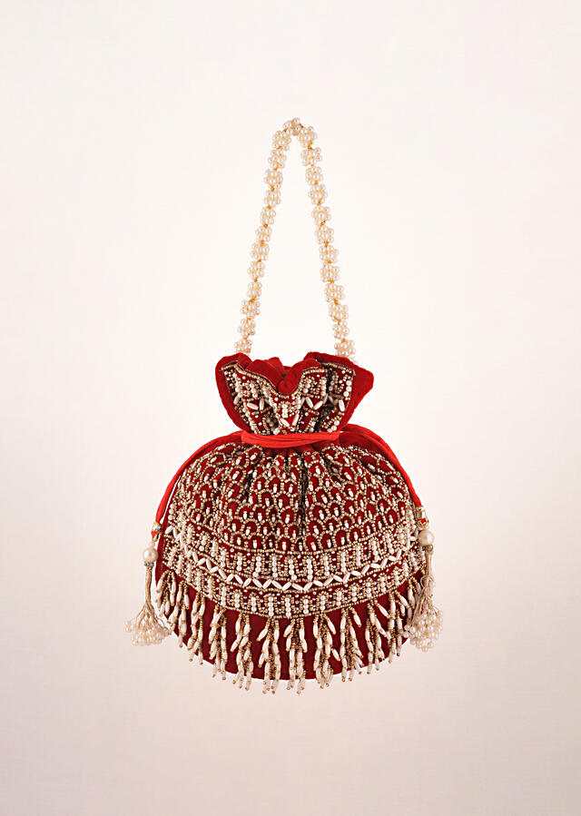 Cherry Red Potli In Velvet Heavily Embroidered With Beads And Moti Work In Scalloped And Tassel Design By Shubham
