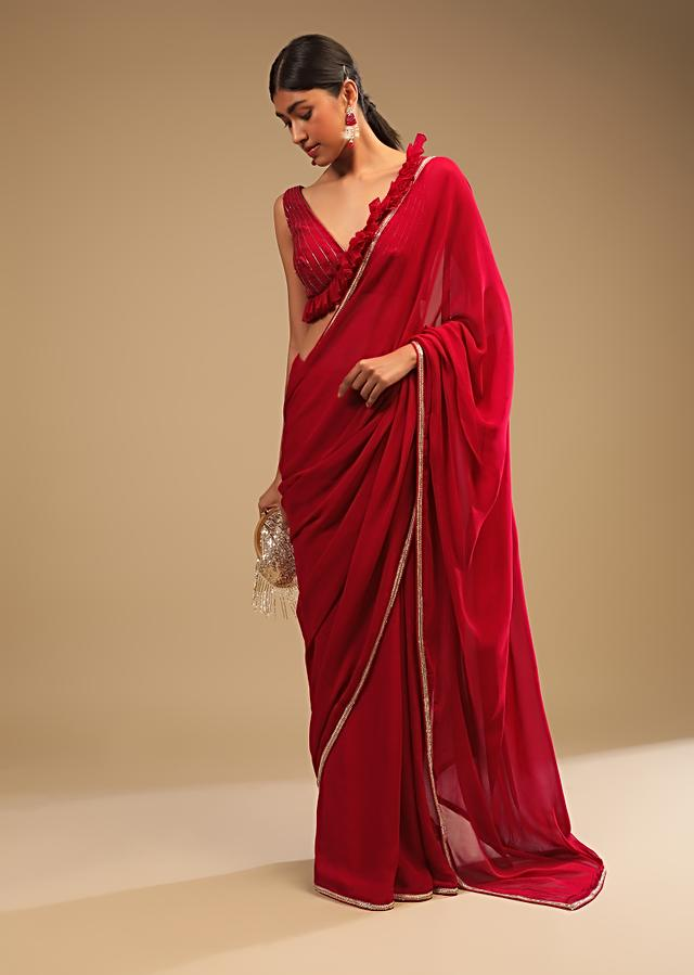 Cherry Red Saree In Georgette With Sequins And Cut Dana Embellished Border And A Ruffle Frill Adorned Crop Top Online - Kalki Fashion