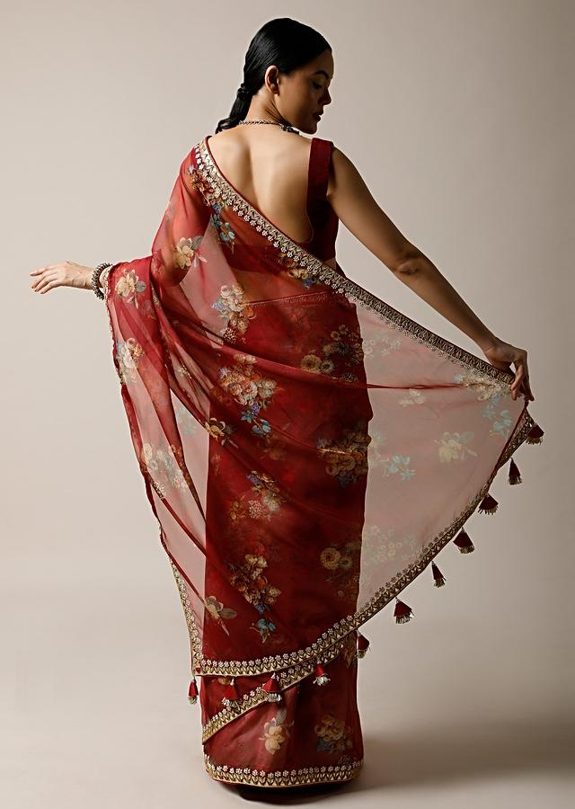 Cherry Red Saree In Organza With Floral Print And Gotta Patti Embroidered Border Along With Unstitched Blouse Online - Kalki Fashion