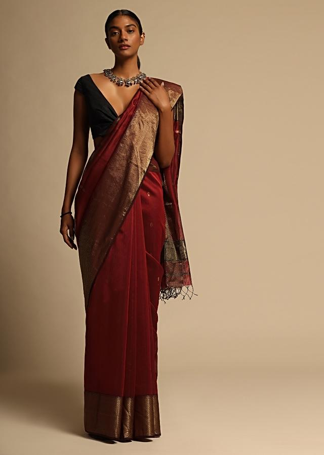Cherry Red Saree Cotton Silk With Woven Buttis And Black Border Along With Unstitched Blouse Online - Kalki Fashion