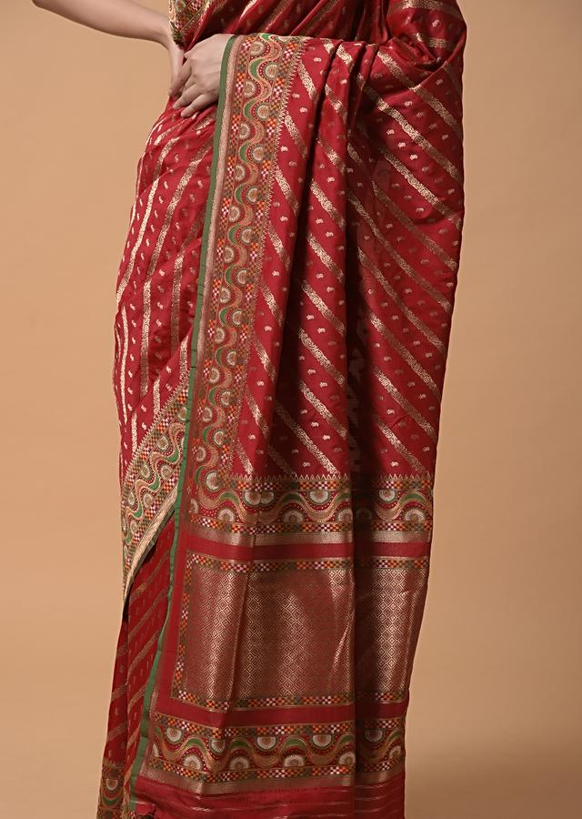 Cherry Red Saree In Silk With Woven Striped Design And Buttis Online - Kalki Fashion