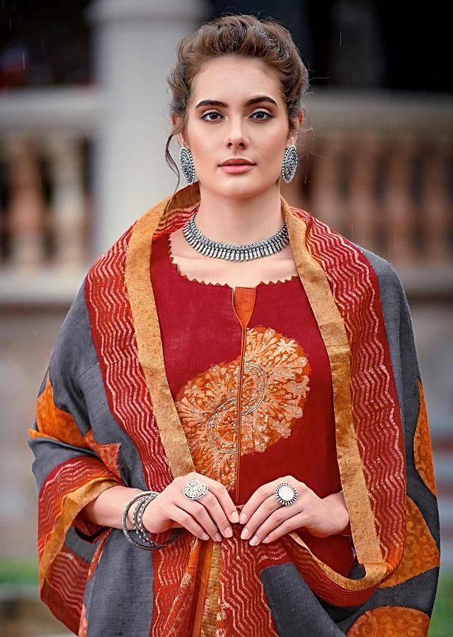 Cherry Red Straight Cut Suit In Tussar Silk With Batik Print In Floral And Tribal Motifs Online - Kalki Fashion