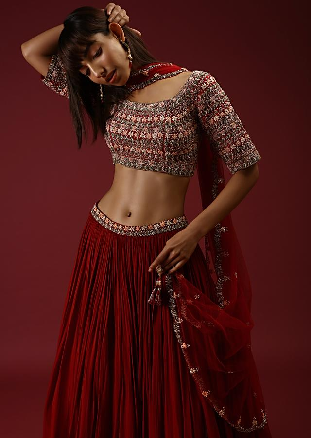 Cherry Red Lehenga With A Heavily Hand Embroidered Choli Featuring Multi Colored Sequins And Beads Online - Kalki Fashion