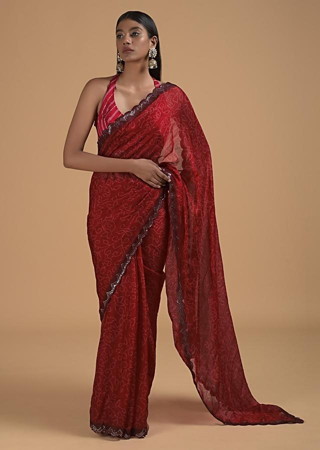 Cherry Red Saree In Silk With Bandhani Printed Jaal And Abla Embellished Scallop Border Online - Kalki Fashion