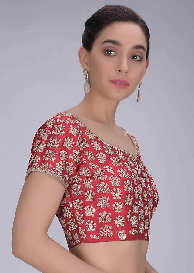 Chili Pepper Red Blouse In Embroidered Raw Silk Online - Kalki Fashion