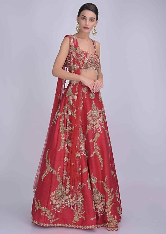 Chili Pepper Red Lehenga In Raw Silk With Matching Blouse And Dupatta Online - Kalki Fashion