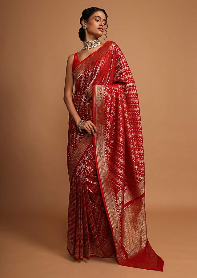 Chilly red silk saree with weaved jall work all over Online - Kalki Fashion