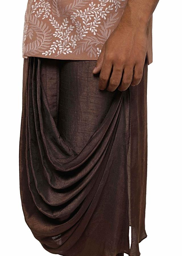 Chocolate Brown Kurta With Pleated Cowl Drape And Embroidered Jacket Set Online - Kalki Fashion