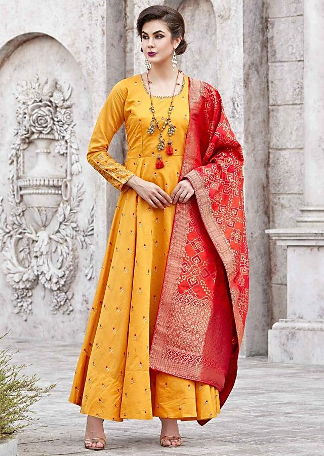 Chrome Yellow Anarkali Suit With Resham Embroidery And Contrast Red Dupatta Online - Kalki Fashion