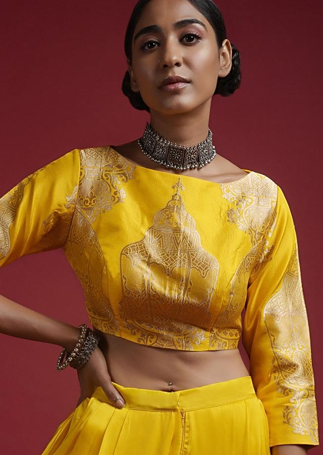 Chrome Yellow Blouse In Brocade Silk With Woven Lamp Motifs And 3/4Th Sleeves Online - Kalki Fashion