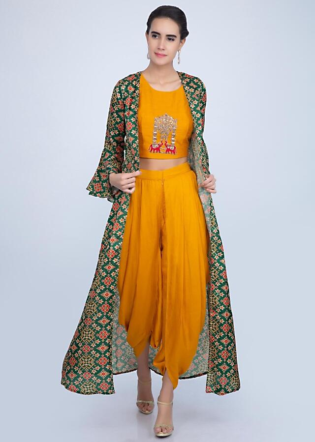 Chrome Yellow Dhoti And Crop Top With A Contrasting Green Jacket Online - Kalki Fashion