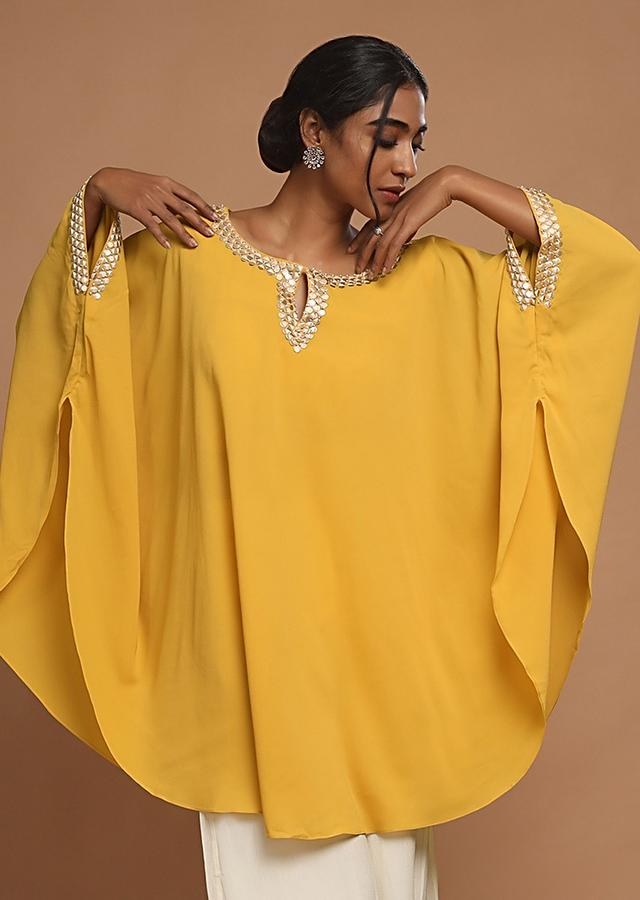 Chrome Yellow Kaftan Highlighted With Sequins And Paired With Cream Palazzo Pants Online - Kalki Fashion
