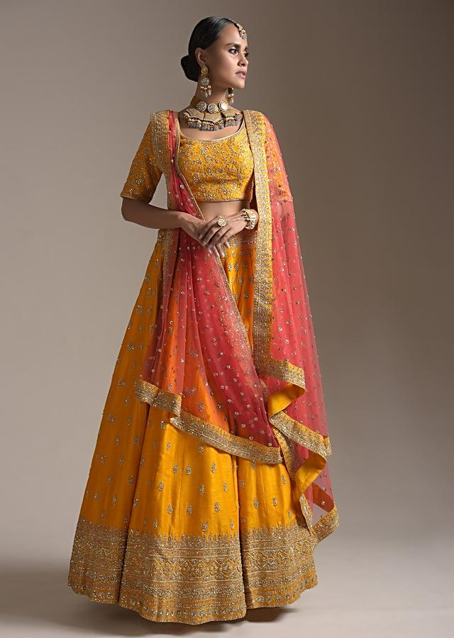 Chrome Yellow Lehenga Choli In Raw Silk With Zari And Sequins Embroidered Buttis And Intricate Border Work Online - Kalki Fashion