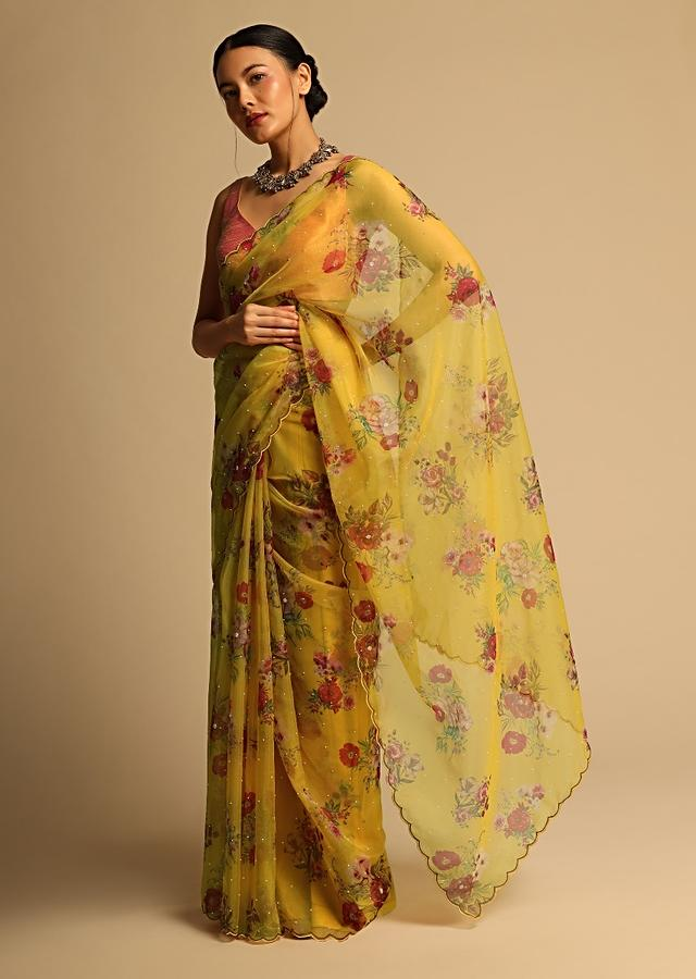 Chrome Yellow Saree In Organza With Floral Print All Over And Scalloped Resham Border Along With Unstitched Blouse Online - Kalki Fashion