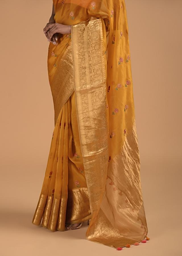 Chrome Yellow Saree In Organza With Resham Embroidered Flower Buttis And Woven Border Online - Kalki Fashion