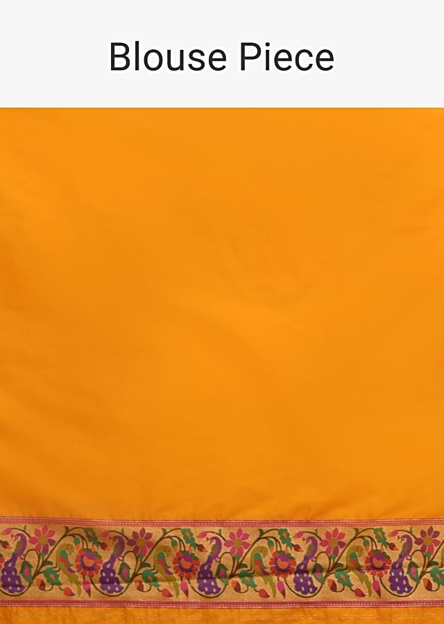 Chrome Yellow Saree In Silk With Colorful Brocade Woven Floral Jaal And Bird Motifs On The Pallu Along With Unstitched Blouse Online - Kalki Fashion