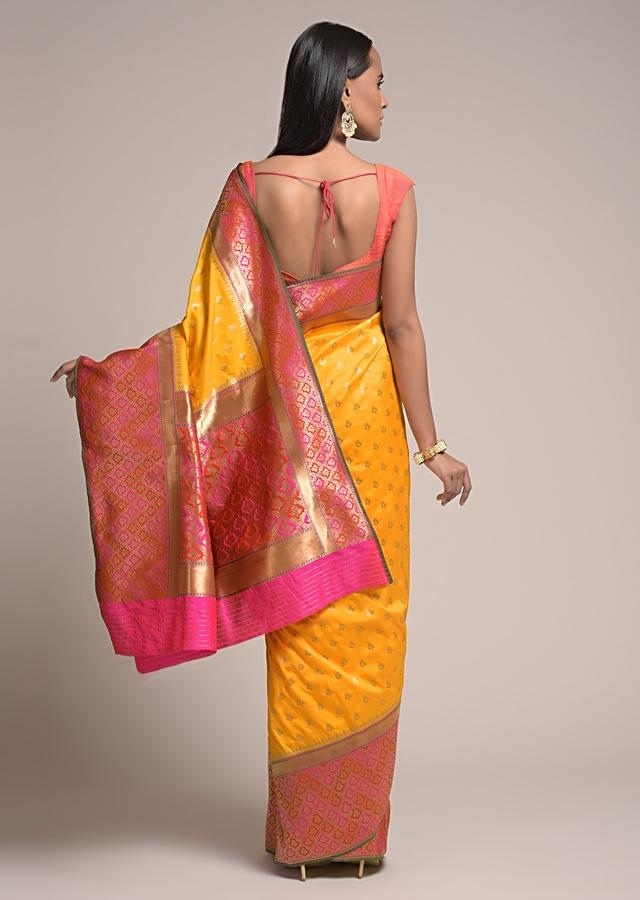 Chrome Yellow Saree In Silk With Woven Butis And Contrasting Floral Border Online - Kalki Fashion