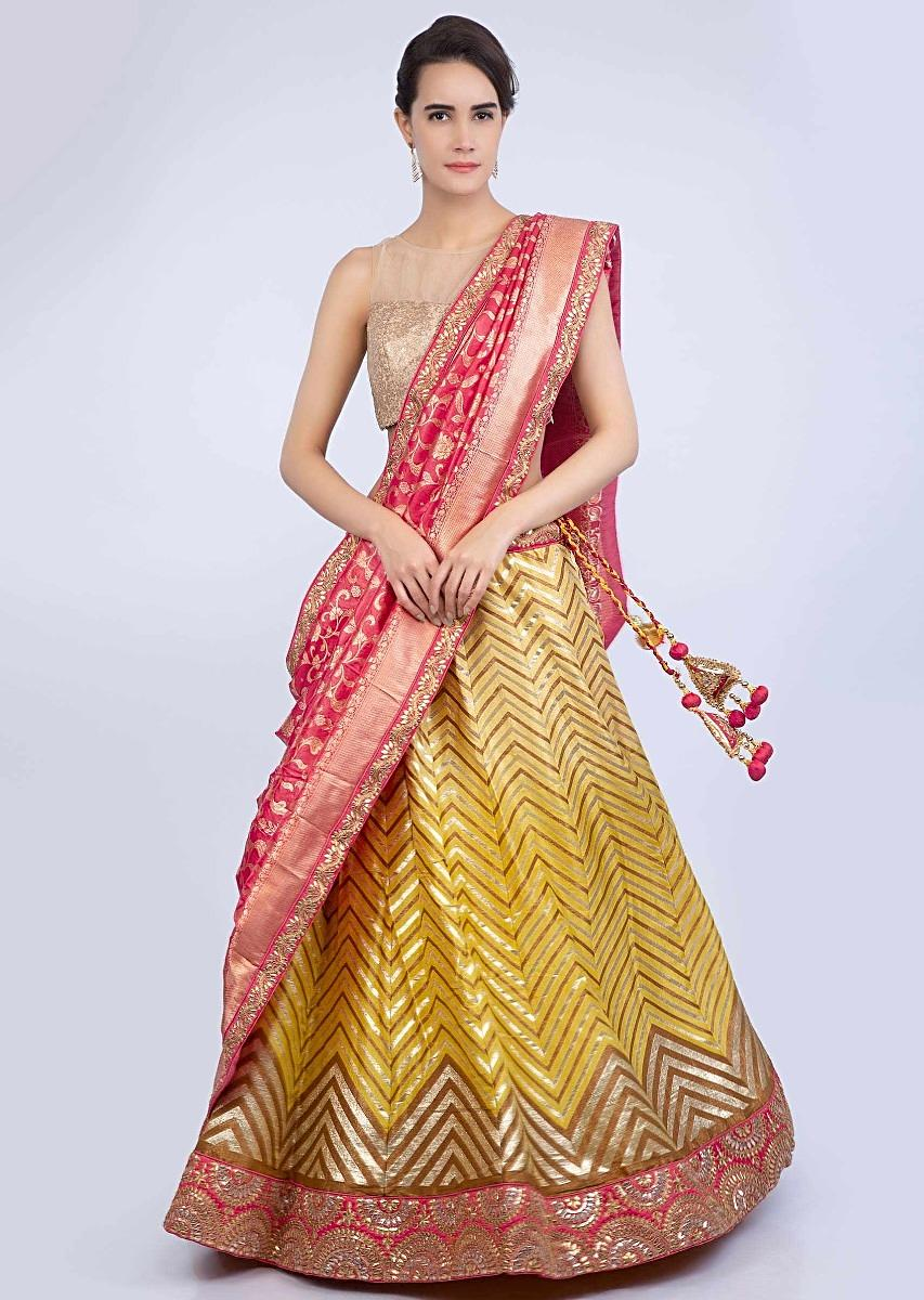 031aeb512 Chrome yellow weaved cotton silk lehenga with a contrasting red brocade silk  dupatta only on Kalki
