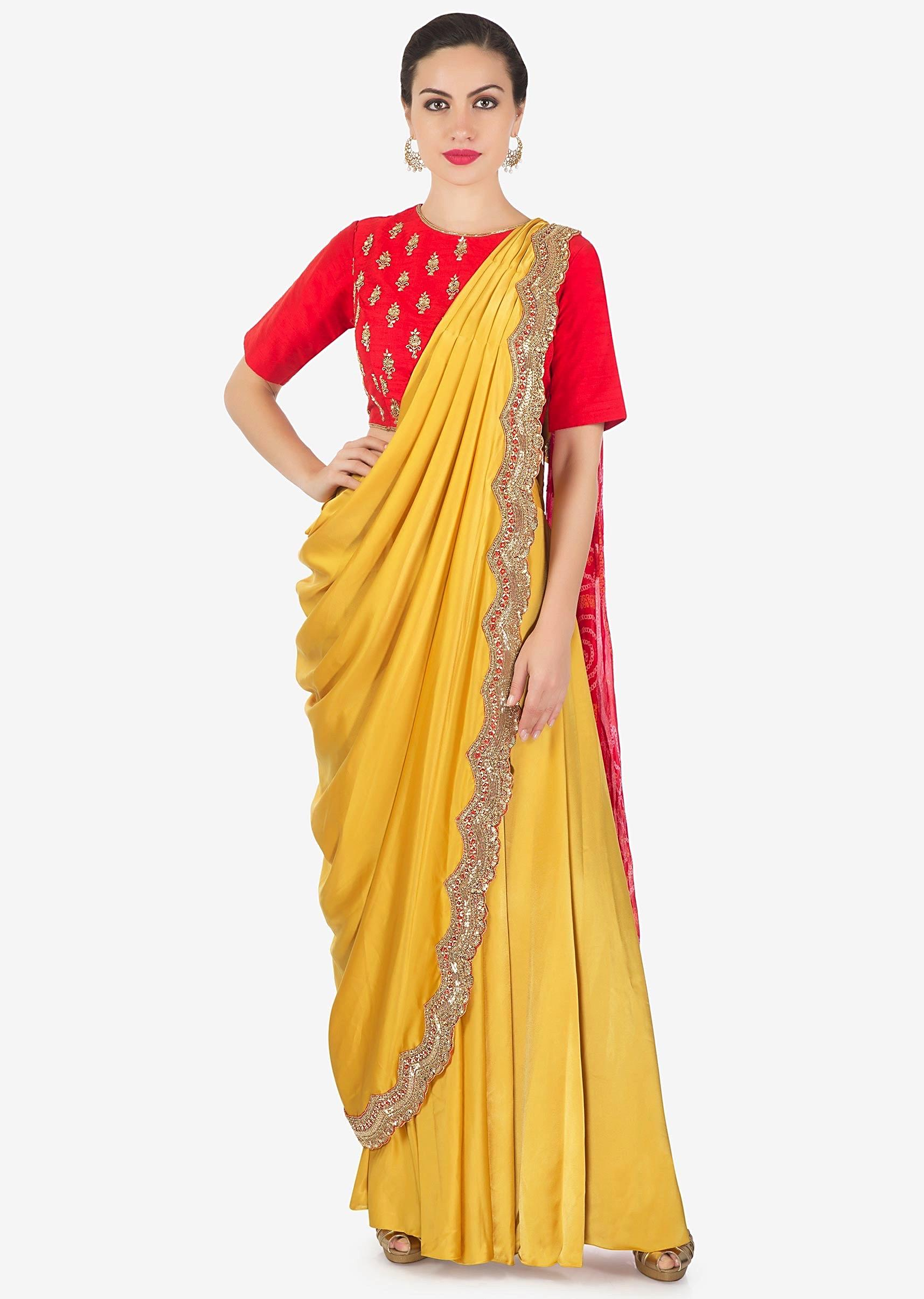 aa32428f8f98fb Chrome yellow and red lehenga set with pre stitched dupatta in bandhani  print only on KalkiMore Detail