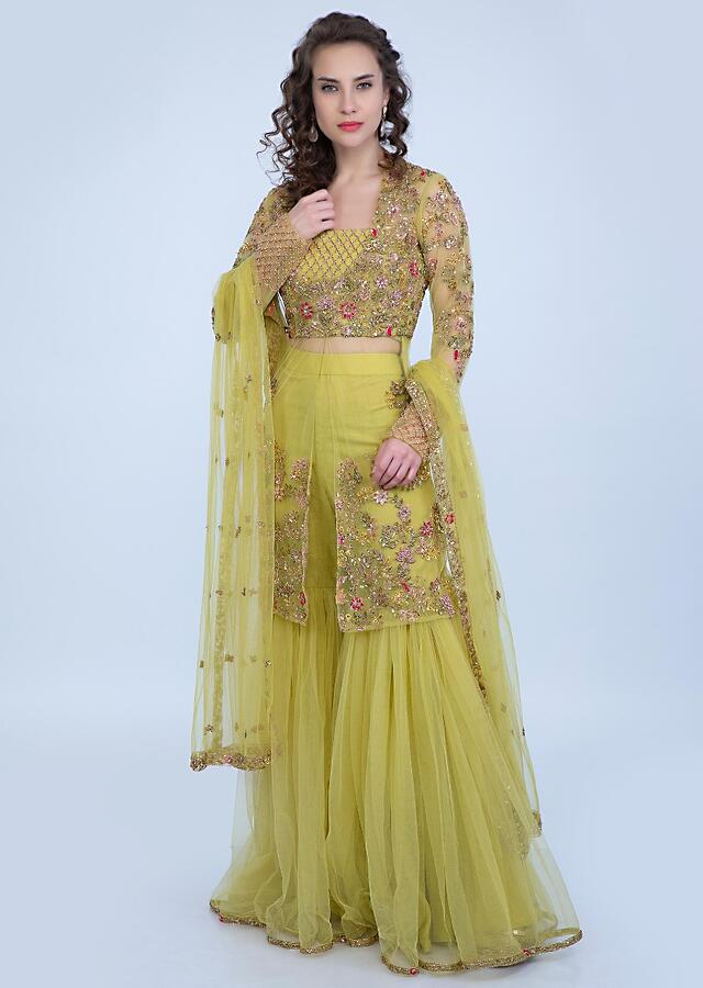 Citrus Green Crop Top And Sharara With Heavy Embroidered Net Jacket Online - Kalki Fashion