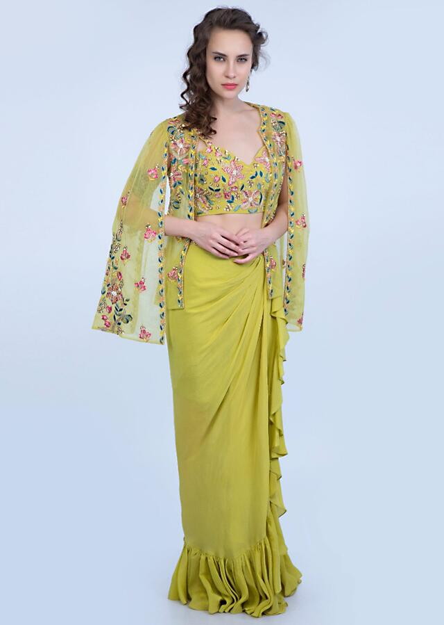 Citrus Green Frill Draped Skirt With Embroidered Blouse And Cape Style Net Jacket Online - Kalki Fashion