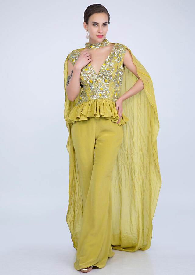 Citrus Green Peplum Top And Palazzo With Embroidered Collar Cape Online - Kalki Fashion